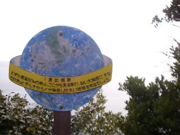「水平線は丸い」という看板