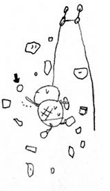 トップロープで登る亀の絵